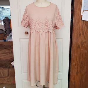 Orange creek peach short sleeve dress large